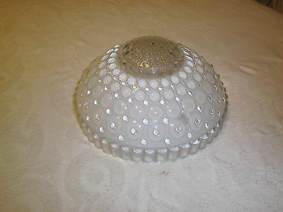 Antique ceiling light fixture glass shade bubble pattern 3 hole chain mounted