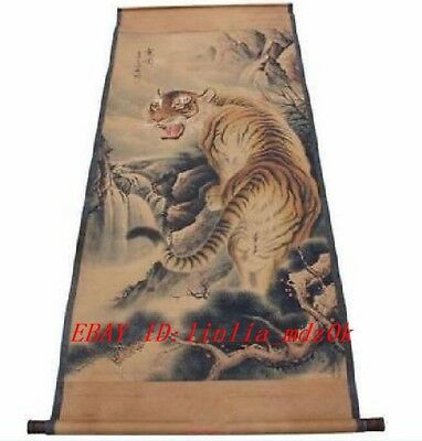 ART ! Original Exquisite Chinese old painting scroll painting of Tiger Q318