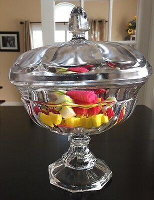 Antique Pedestal Covered Glass Compote Candy Dish
