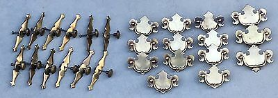 Lot Of 26 Vintage Brass Drawer Pulls Door Handles Knobs Hardware Chippendale