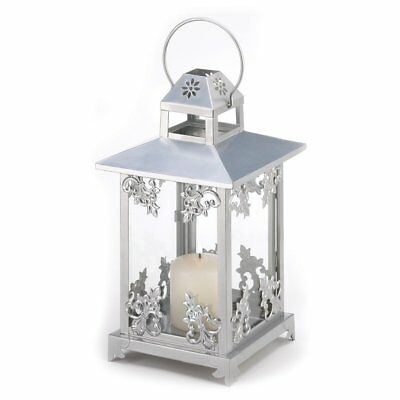 White Outdoor Candle Lantern, Rustic Antique Scrollwork Candle Lantern Holder