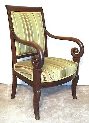 ANTIQUE EARLY 19th CENTURY CLASSICAL FRENCH EMPIRE REGENCY MAHOGANY ARMCHAIR