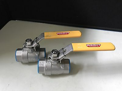 "Lot of (2) Merit Ball Valve 1"" Type 316 SS 1000WOG Full Port  *Free Shipping!"