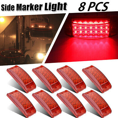 "8x Sealed 6"" Red 21LED Rectangular Side Marker Indicator Lamp Aux Stop Turn Tail"