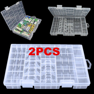 2/4/10PCS AAA AA C D 9V Battery Storage Case Holder Hard Plastic Box Organiser