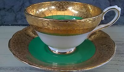 Thick Etched Gold Staffordshire Cabinet Tea Cup & Saucer Emerald Green