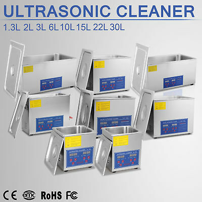 1.3L, 2L, 3L, 6L, 10L, 15L, 22L, 30L ULTRASONIC CLEANER BATH CLEANING W/ Timer