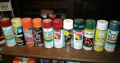 vintage spray paint mixed lot 10 old cans krylon,graffiti,red devil,nice
