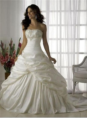 stock White/Ivory Wedding Dress Bridal Gown Stock Size 6 8 10 12 14 16 18