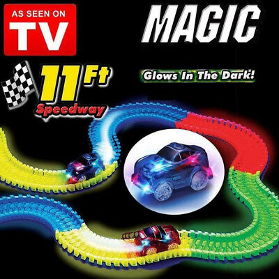 Bend LED Racetrack Magic Glow Toys 1 Set  Race Car Childen Light up Tracks
