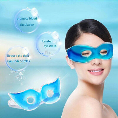 Soft Blue Gel Eye Mask Cold Pack Hot Ice Cool Soothing Tired Eyes Headache Pad