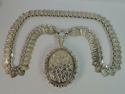 1880 Victorian Striking Floral Engraved Solid Silver Locket & Collerette Chain