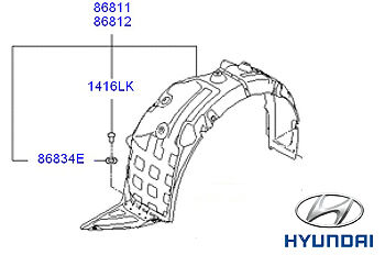 Genuine Hyundai i40 Tourer Front Wheel Arch Liner RH  Drivers Side - 868123Z000