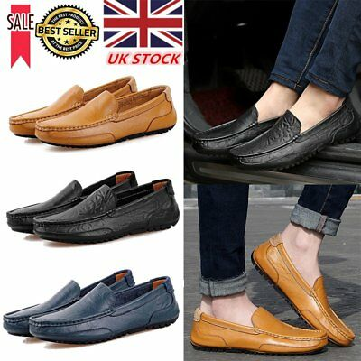 Men Leather Casual Loafers Fashion Moccasins Slip on Driving Shoes UK Size 6-9.5
