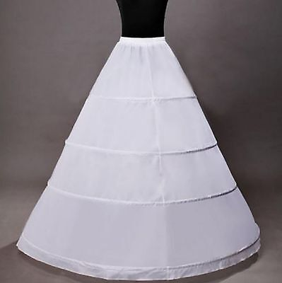 New Stock 4-HOOP White Petticoat Wedding Gown Crinoline Petticoat Skirt Slip US
