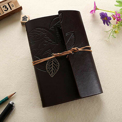Dark Brown Retro Leaf Vintage Leather Notebook Kraft Diary Travel Journal  Memo