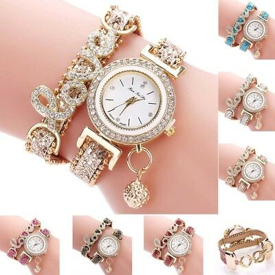 Fashion Women's Stainless Steel Leather Rhinestone Bracelet Quartz Wrist Watch