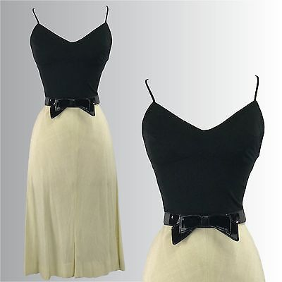 Vintage 1960s Black and Cream Sundress - 60s Dress
