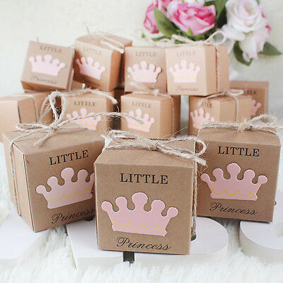 10PCS Little Princess Girl Baby Shower Gift Favor 1St Birthday Party Candy Box