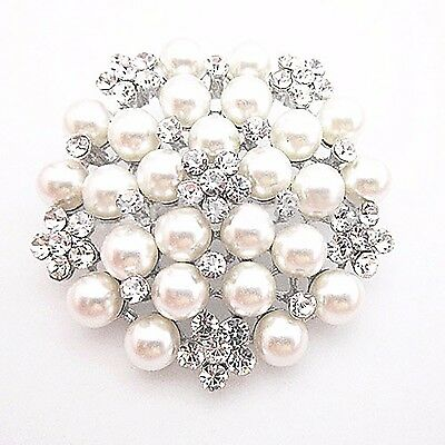 Pearl & Crystal Brooch Pin - Bridal Wedding Deb Formal Accessories - RRP$33
