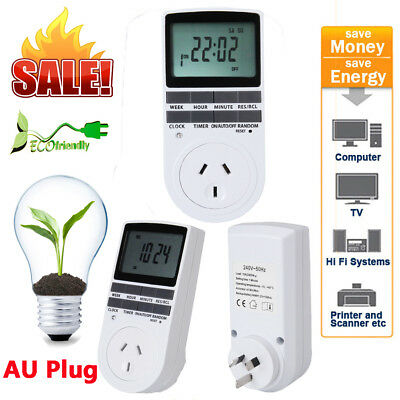 7Day Programmable Digital Electronic Power Timer Switch Socket 240V AU Plug LCD
