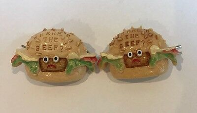 1984 Wendy's Where's the Beef Hamburger Barrettes - Pin Vintage