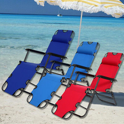 Outdoor Adjust Folding Metal Chaise Lounge Chair Patio Pool Beach Lawn Recliner