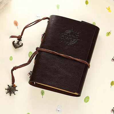 Dark Brown Pirate Retro Vintage Pocket PU Leather Notebook Diary Kraft Journal