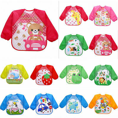 Baby Toddler Waterproof Long Sleeve Child Kids Feeding Art Smock Bib Apron Soft