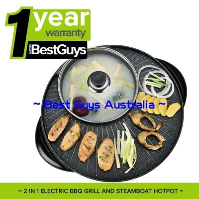Electric Steamboat Teppanyaki and Hot Pot Set Asian Soup Stone Coated 1600W