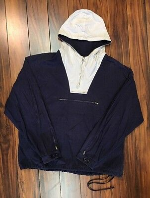 Vtg 1990's J Crew Ivory and Navy Blue Hooded Pullover Size Large