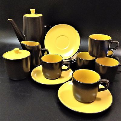 Mikasa Terra Stone - Curry Yellow 7126 -Complete Coffee Service & 6 Cup & Saucer