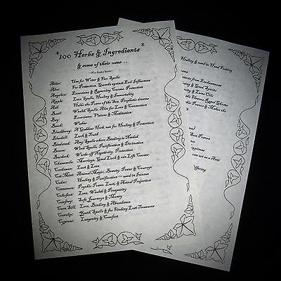Witches 100 Herbs and Uses Information Posters Wicca Pagan Ritual Spells Altar