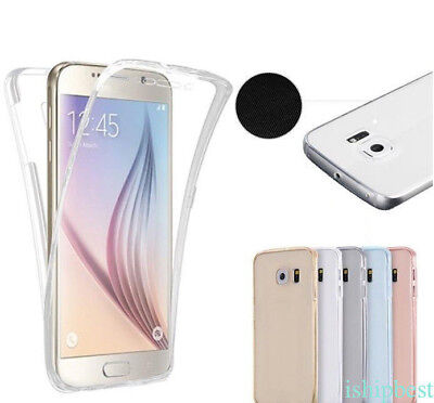 Front+Back Silicone 360° Screen Protector Clear Case Cover For Samsung J7 S7 S8