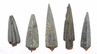 Lot Of 5 Ancient Bronze Arrow Heads - Ancient Historical Artifacts Superb - K609
