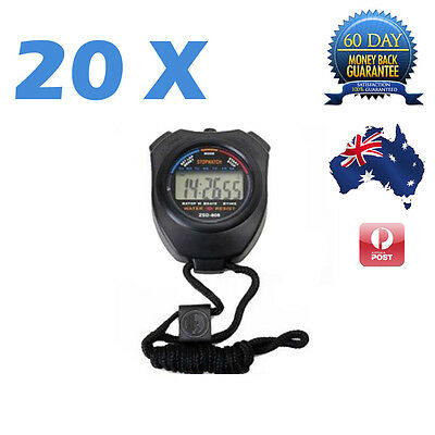 20 X Stopwatch Handheld Digital LCD Chronograph Sports Counter Timer Stop Watch