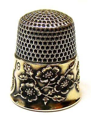 Rare Antique Ketcham & McDougall Gold Band Sterling Silver Thimble  Wild Roses
