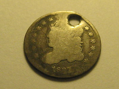 1837 Capped Bust Half Dime Hole