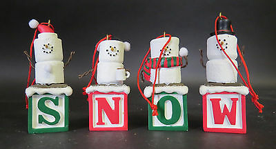 """Vintage Midwest Cannon Falls """"s N O W Set Of 4"""" S'more Ornament Free Shipping!"""