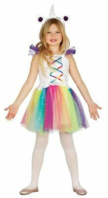 Girls Childrens Rainbow Unicorn Costume Dress + Horn Hairband Fancy Dress Outfit