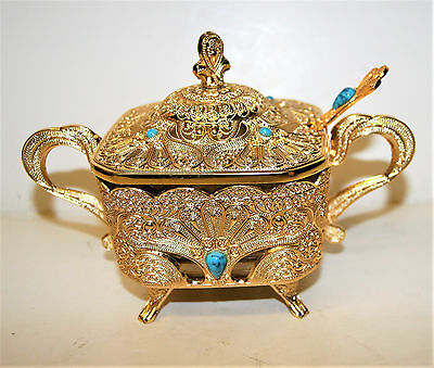 Gold Plated Sugar Dish Lided Bowl w Glass Lining Ornate & Decorated w Turquoise