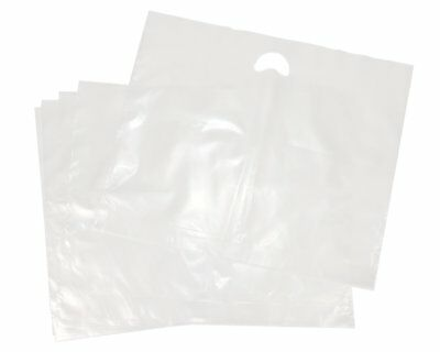 """25 Clear Heavy Duty Patch Handle Plastic Carrier Bags 22"""" x 18"""" x 3"""""""