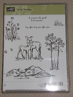 "Stampin Up Stempelset ""In the Meadow"" NEU Weihnachten Rehe Baum Gras Herbst"