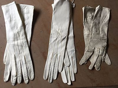 3Pr Antique Victorian Women's White Lamb Leather Button Snap GLOVES W/Tags Italy