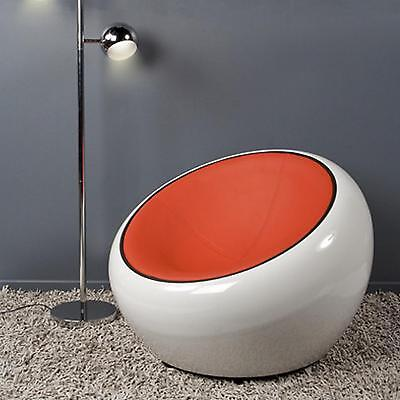 Armchair rotating 360° design half dome white red orange eco-leather pod chair