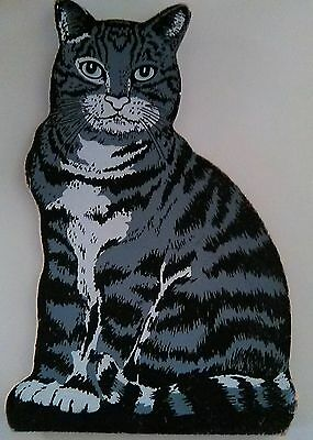 Vintage Striped Kitty Cat Plaque For Window Display Looks Real From Afar  !