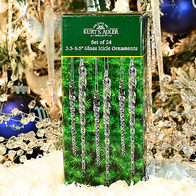 Set of Clear Glass Icicles TOTAL 24 Pieces Kurt S. Adler Christmas Tree Ornament