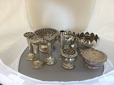Lovely Selection Of 9  Victorian Silver Plated  Bud Vases, Flower Holders Etc