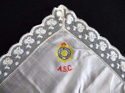 Antique WW1 Embroidered Regimental Crest Handkerchief - ASC Army Service Corps