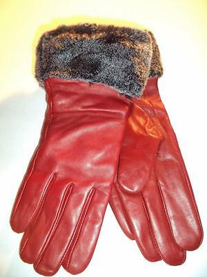 Ladies Grey Fur Cuff,Red Genuine Leather Gloves,L-SEE DESCRIPTION FOR PICS